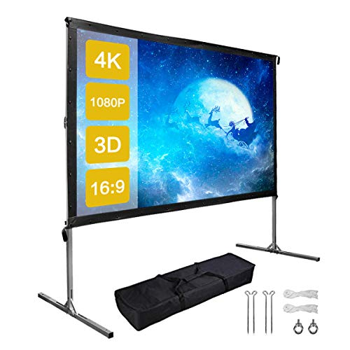 100 Inch Outdoor Projector Screen with Stand,EZAPOR 16:9 Projection Screen 4K Ultra HD Portable Fast Foldable Stand for Movie Theater Camping Indoor Outdoor Meeting Office