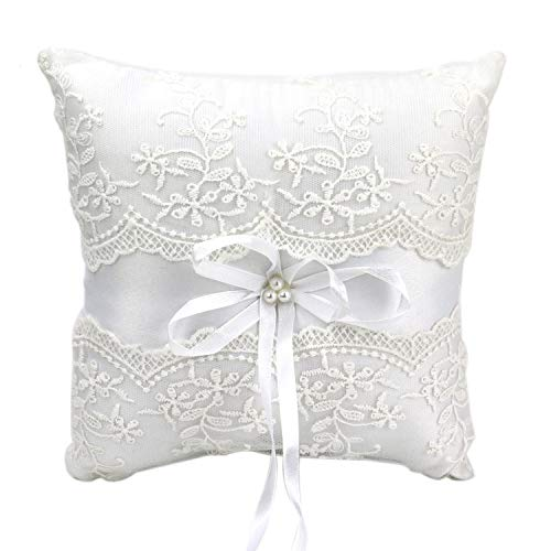 HUELE Faux Pearl Satin Ribbon Wedding Ring Pillow Wedding Ceremony Ring Cushion Bearer 7.9″ x 7.9″