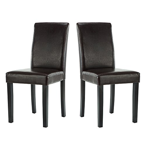 LSSBOUGHT Set of 2 Urban Style Leatherette Dining Chairs With Solid Wood Legs(Brown)