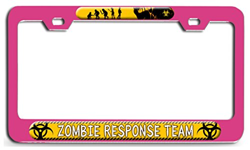 Makoroni - ZOMBIE RESPONSE TEAM Zombie Pn Steel License Plate Frame - License Tag Holder 3D Design -