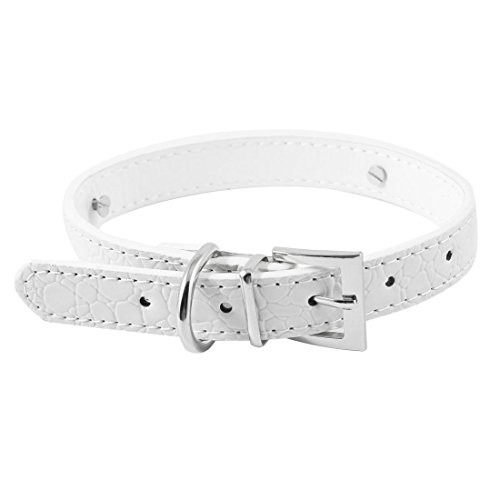 uxcell Single Pin Buckle Alligator Pattern Pet Dog Collar M White - Alligator Collar
