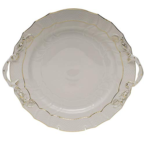 Herend Golden Edge Porcelain Chop Plate With Handles