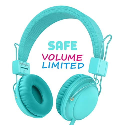 AILIHEN Wired Kids Headphones with Volume Limited and SharePort, Children Headphones with Microphone for Girls Boys Toddlers (Mint)