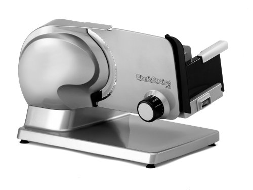 Chef'sChoice Electric Food Slicer 615 Cast Aluminum Stainless Steel Tilted Food Carriage Cantilever Powerful High Torque Gear Drive Motor Continuous Duty Slicing, 7-inch Stainless Steel Blade, Silver by Chef's Choice