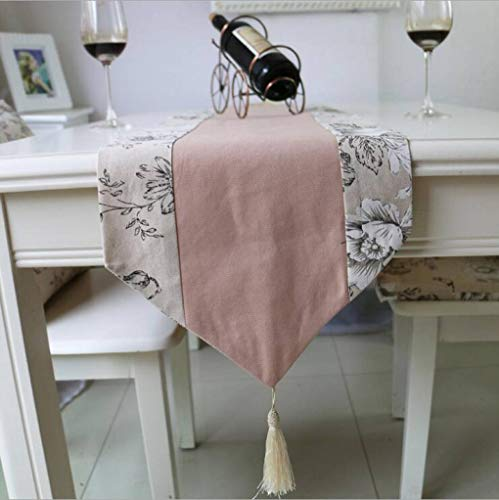 SYHK Linen Table Runners for Home Hotel Parties Decoration with Tassels Pink Classical Table Cloth]()