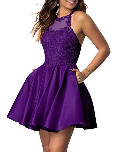 NaXY Juniors Halter Sleeveless Applique Beaded Short Homecoming Dresses with Pockets Purple Size 14