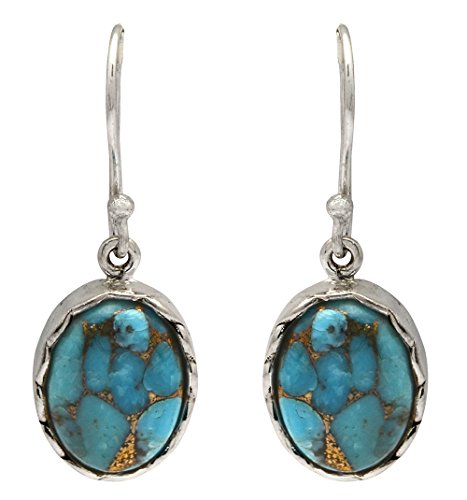 - Blue Copper Turquoise Dangling 925 Solid Sterling Silver Earrings Silver Jewelry