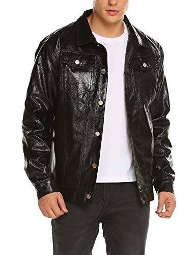 COOFANDY Mens Christmas Jacket Leather Biker Motorcycle Truker