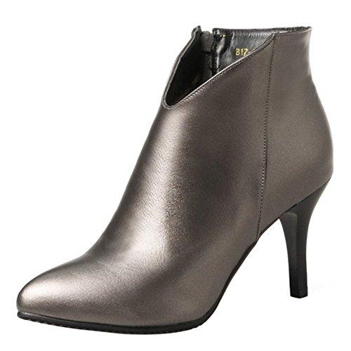 Metal de RAZAMAZA Botines Aguja Tacon Zapatos para Mujer Gun de Moda de Y6PZxFB6q