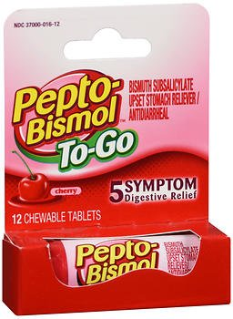 (Pepto-Bismol To-Go Chewable Tablets Cherry - 12 ct, Pack of 5)