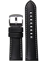 24mm Panatime Black HZ Genuine Leather Watch Band with White Stitching 24/22 125/75