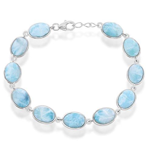 Sterling Silver 7.5'' Oval Natural Larimar Link Bracelet by Beaux Bijoux