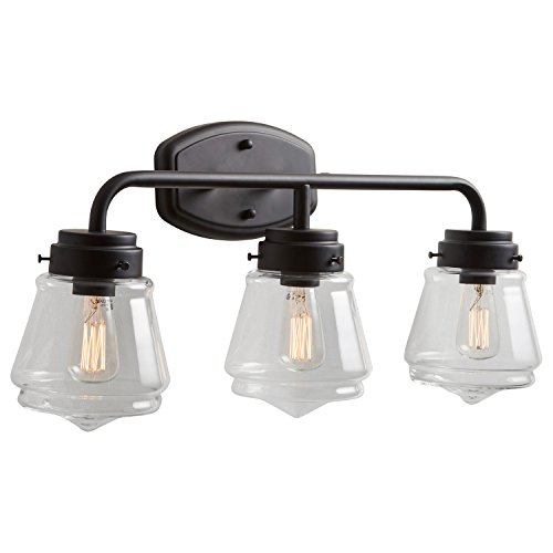 Stone & Beam Vintage 3-Light Vanity Fixture, 11.5''H, With Bulb, Matte Black with Glass Shade by Stone & Beam (Image #6)