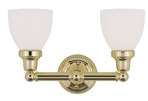 Bathroom Vanity 2 Light With Satin Opal White Glass Polished Brass size 16 in 200 Watts - World of Crystal (Bathroom Fixtures Polished Light Brass)