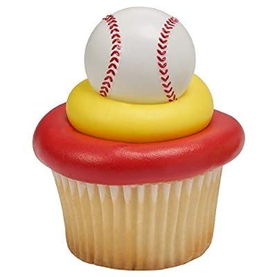 3D Baseball Cupcake Rings - 24 pc: Toys & Games