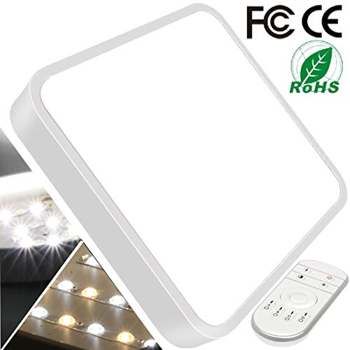 (28W 16inch Dimmable LED Flush Mount Ceiling Light with Remote Control Square LED Ceiling Lamp Lighting Kitchen Bathroom Living Room 2800K-6500K 3 Color Temperature and Brightness)