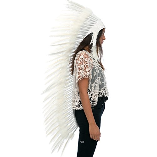 Sexy Male Indian Costumes (Extra Long Feather Headdress- Native American Indian Inspired- Handmade Halloween Costume for Men Women with Real Feathers - All White Duck)