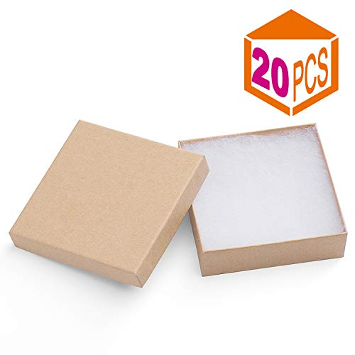 MESHA Jewelry Boxes 3.5x3.5x1 Inches Paper Gift Boxes Natural Cardboard Bracelet Boxes with Cotton Filled Pack of 20 (nature)]()