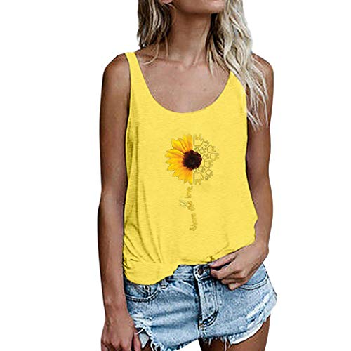 Drindf Womens Top Women's Summer Sleeveless Tops, Casual Tank Tops Size S-3XL Sunflower Vest T Shirt Blouse Yellow