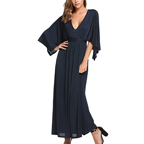 34382a87b47 new SE MIU Women s Sexy Deep V-neck High Waist Long Maxi Dress ...