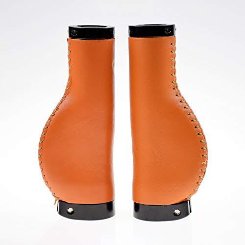 SAPLIZE Bike Handlebar Grips, Luxurious Genuine Leather Wrap, Ergonomic Design, Aluminum Double Lock-on, Orange