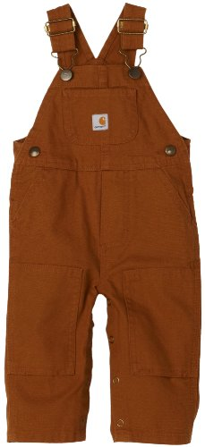 Carhartt Baby-boys Infant Washed Duck Bib Overall, Brown, 12 Mo.