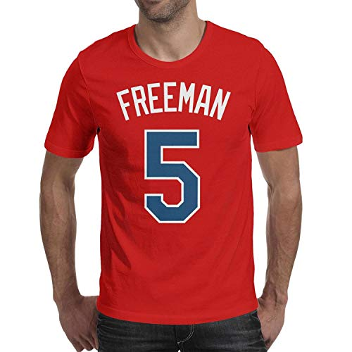 Navy-Freddie-Freeman-5- T-Shirts Fit Beach Cotton Short Sleeve Men's Tees Tops