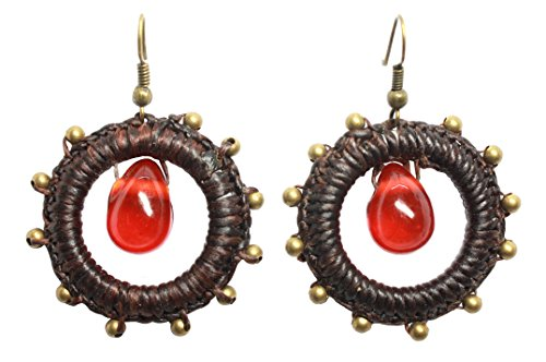 Bijoux de Ja Handmade Red Glass Bead Round Braided Drop Dangling - And Hair Round For Glasses Short Face