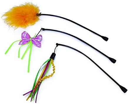 SmartyKat Feather Whirl Replacement Wands Cat Toy, 3-Pack 2