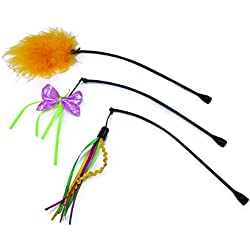 SmartyKat Feather Whirl Replacement Wands Cat Toy, 3-Pack