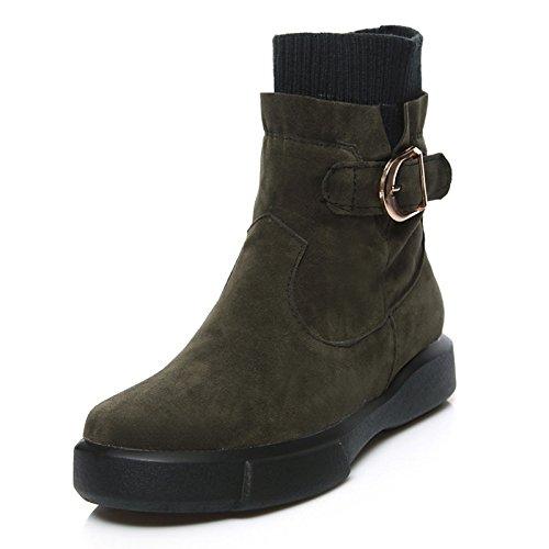 botas Punta Black moda de botines Bota Invierno Mid de montar hebilla plana Zapatos redonda botas Calf botas de Mujer Polar HSXZ Otoño botines botas xp6Yn5gP