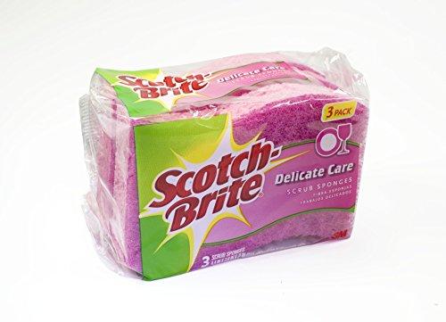 3M 3 Count Scotch-Brite Delicate Care Scrub Sponges (3pk Scotch Brite Scrub)