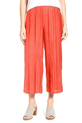 WuhouPro Women's Elastic Waist Wide Leg Pleated Crop Pants AZ 1400 Tomato (Crop Womens Pants)