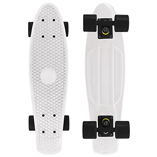 kateboard Complete 22 Inch Standard Style Plastic Board Style (White/black/black) ()