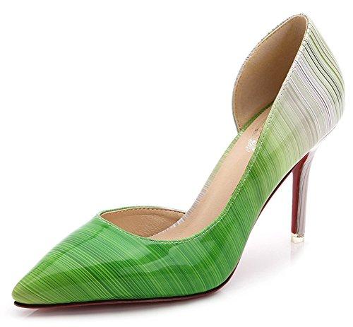 Aisun Donna Sexy Gradiente Taglio Basso Scarpe A Punta Tacco Alto Pompe Dorsay Slip On Tacchi Partito Stiletto Verde