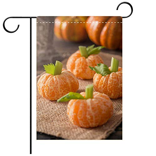 BEICICI Artistically Designed Yard Flags, Double Sided Healthy Halloween Treats Tangerine Pumpkin Kids Fun Best for Party Yard and Home Outdoor -