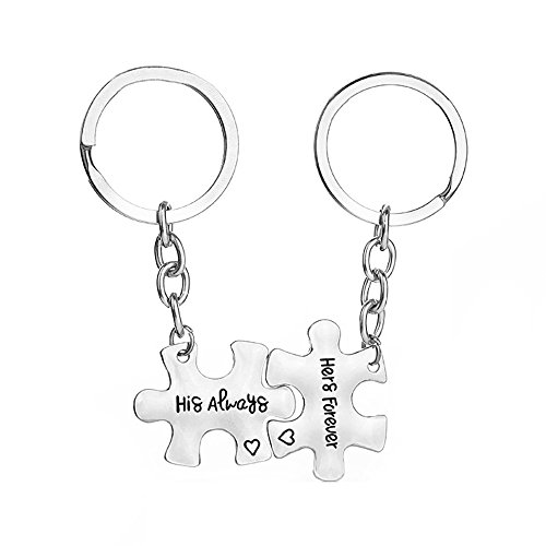2 Piece Key Chain Set for Couples Valentine Gifts Set His Always Hers Forever Keychain