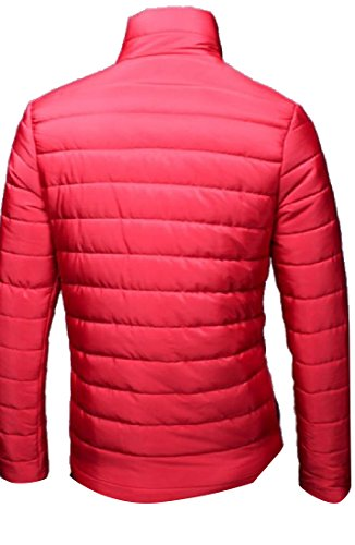 Men's AngelSpace Outwear Red Solid Down Warm Sleeve Long Quilted Jacket Slim drr0w1