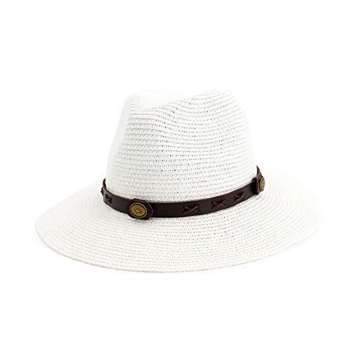 (Vim Tree Man and Woman's Wide Brim Straw Panama Hat Fedora Beach Sun Hat with Band UPF50+ White 86)