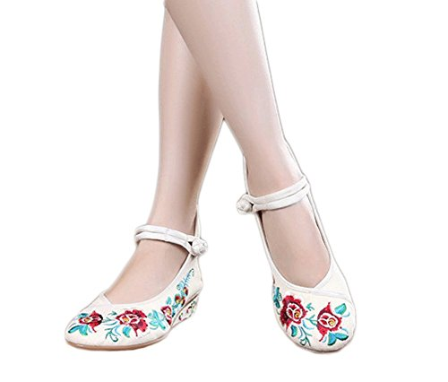 AvaCostume Womens Old Beijing Floral Embroidery Wedge Heel Shoes Beige wcmJd