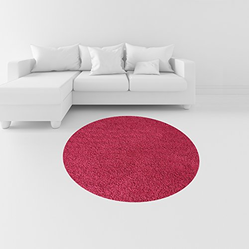 Soft Shag Round Area Rug 5 ft. Plain Solid Color PINK - Contemporary Area Rugs for Living Room Bedroom Kitchen Decorative Modern Shaggy Rugs
