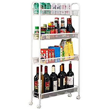 Amazon Com Slim Rolling Pantry 6 Tier Shelf White Metal