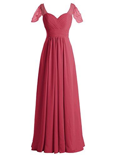 Bbonlinedress Vestido Mujer Largo Fiesta Noche Boda Madrina Escote Corazón Rojo Ocscuro