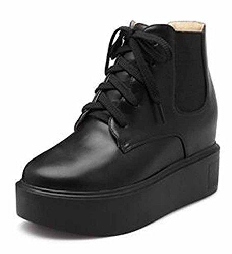 Chfso Kvinna Eleganta Solid Rund Tå Snörning Mitten Kilklack Plattform Boots Svart