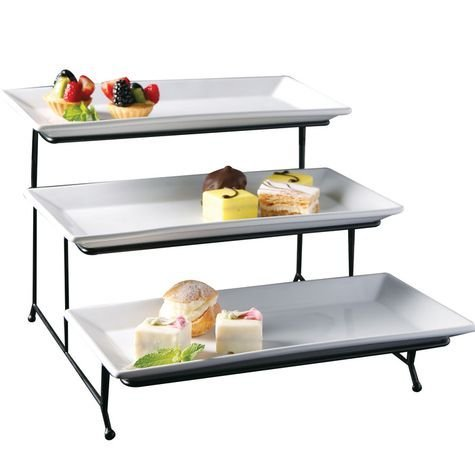 (Food Serving Tray Set 3 Tier Metal Display Stand With Three White Rectangular Dishes Platters Wire Footed Steel Rack For Salad Bowls Fruit Cake Cookies Collapsible Classy Serveware for Parties)