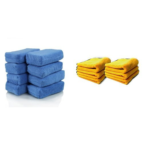 Chemical Guys MIC_292_08 Premium Grade Microfiber Applicators, Blue (Pack of 8) and Chemical Guys MIC_506_12 Professional Grade Premium Microfiber Towels, Gold (16 in. x 16 in.) (Pack of 12) Bundle