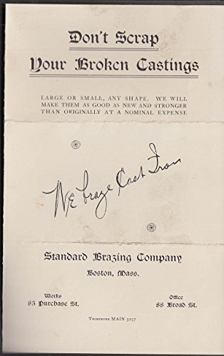 (Standard Brazing Don't Scrap Your Broken Castings folder envelope & tag 1905)