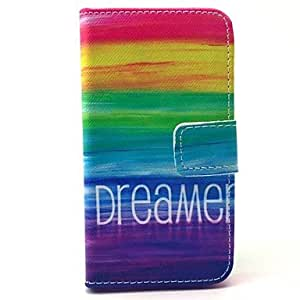 SHOUJIKE Rainbow Dreamer Pattern PU Leather Full Body Case with Card Slot for iPhone 4/4S