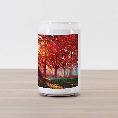 Ambesonne Tree Cola Can Shape Piggy Bank, Autumnal Foggy Park Fall Nature Scenic Scenery Maple Trees Sunbeams Woods, Ceramic Cola Shaped Coin Box Money Bank for Cash Saving, Orange Yellow Teal