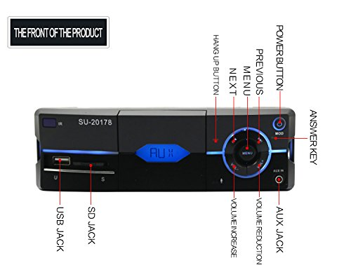 pomile車ステレオBluetooth mp3プレーヤー受信機ワイヤレスリモート制御18 FM / mp3 / USB / MMC / SD B078MZZTH6